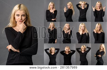 Set Of Woman Posing With Emotional Face, Collage Posing Emotions Girl Studio. Different Emotions Col