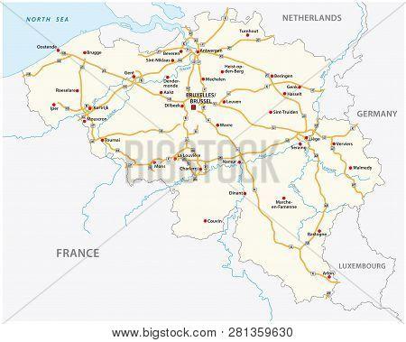 The Belgium Motorway Vector Map With Labeling