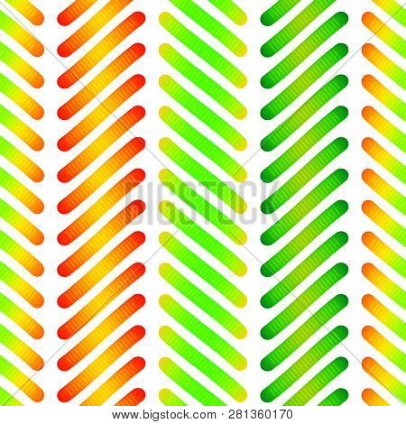 Jelly Gummy Worms Cartoon Seamless Pattern. Colorful Elements. Vector Illustration. Design For Kids