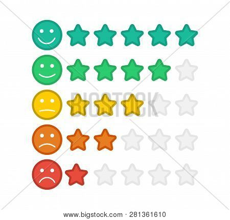 Emoji With Star Rating. Feedback Emoticon. Star Rating. Consumer Rating.