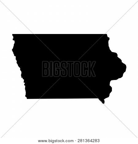 Iowa, State Of Usa - Solid Black Silhouette Map Of Country Area. Simple Flat Vector Illustration