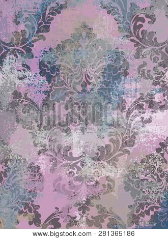 Rococo Texture Pattern Vector. Floral Ornament Decoration Old Effect. Victorian Engraved Retro Desig
