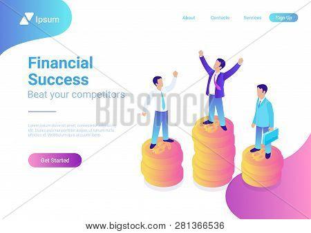 Financial Success Flat 3d Web Isometric Infographic Business Concept Vector Illustration. Happy Succ