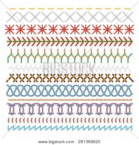 Colored Sewing Stitches Set, Pattern In Lines