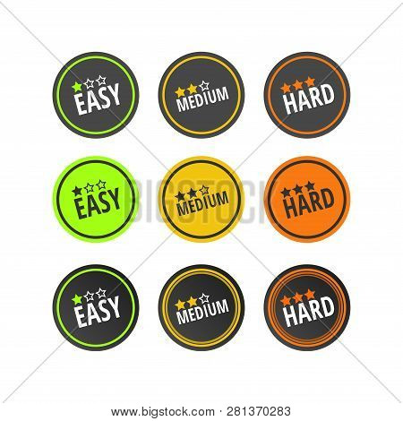 Set Of Labels, Gradation Of Levels. Easy, Medium, Hard. Three Options And Designs. Degree Of Difficu