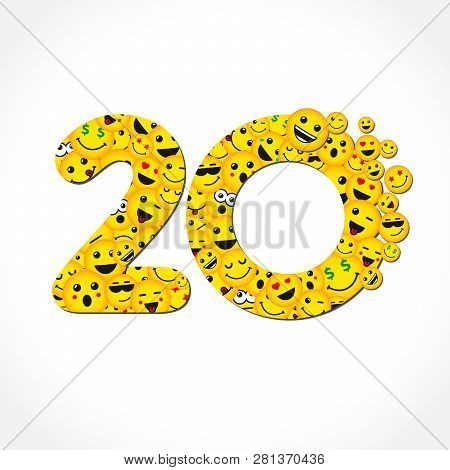 20 Th Years Old Congrats. Isolated Yellow Abc Letter O Logotype. Abstract Web Graphic Symbol Of 20 %