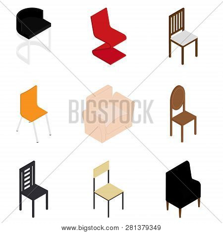 Different Types Chair Vector Set. Furnished Apartment Office Interior Design Elements. Furniture Iso