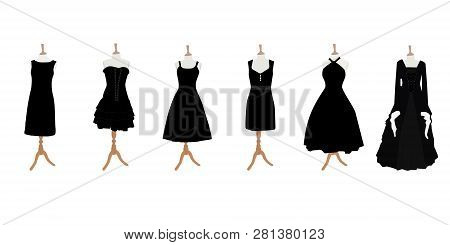 Set Of Black Different Design Elegant Cocktail And Evening Woman Dresses On Mannequin For Boutique.