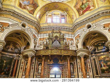 Turin, Italy - December 30, 2018. Pipe Organ Of The Real Chiesa Di San Lorenzo Church. Turin, Piedmo
