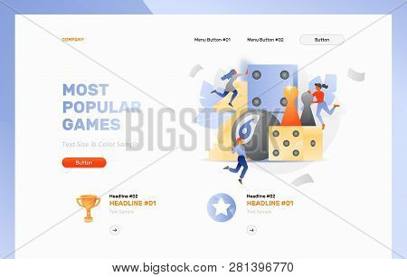 Vector Header Template Of Board Gaming. Tiny Peoples Playing Board Game. Domino, Knight Chess Piese,