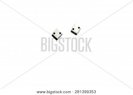 Dice Isolated On A White Isolated Background Cubes With Black Dots On Which An Equal Number Of Two F