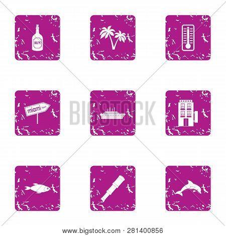 Tourist Journey Icons Set. Grunge Set Of 9 Tourist Journey Icons For Web Isolated On White Backgroun