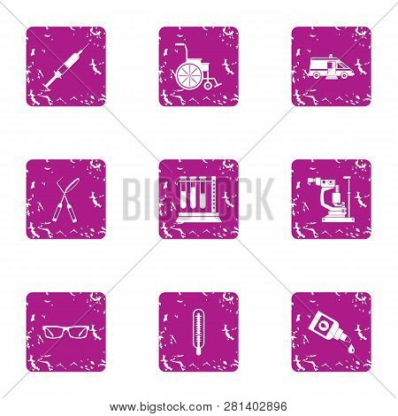 Inquiry Icons Set. Grunge Set Of 9 Inquiry Icons For Web Isolated On White Background