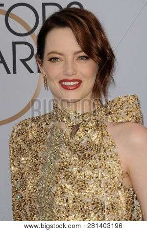 LOS ANGELES - JAN 27:  Emma Stone at the 25th Annual Screen Actors Guild Awards at the Shrine Auditorium on January 27, 2019 in Los Angeles, CA