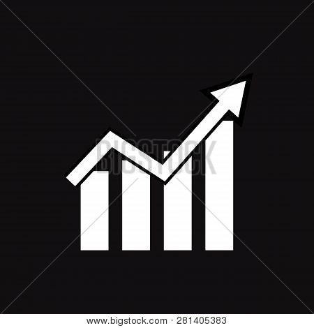 Graph Icon On Black Background. Flat Style. Line Chart Icon For Your Web Site Design, Logo, App, Ui.