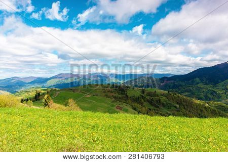 Springtime In Mountains. Beautiful Countryside Landscape. Grassy Meadow With Dandelions. Fluffy Clou