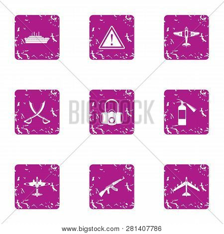 Military Members Icons Set. Grunge Set Of 9 Military Members Icons For Web Isolated On White Backgro