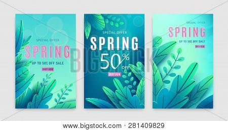 Spring Sale Background. Springtime Discount Poster Set With Bright Green Blue Fantasy Leaves, Light