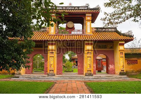 The Gate To The To Mieu Temple In The Imperial City, Hue, Vietnam