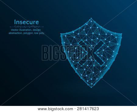 Insecure Low Poly Vector Illustration, Shield And Cross Icon On Blue Background, Abstract Design Ill