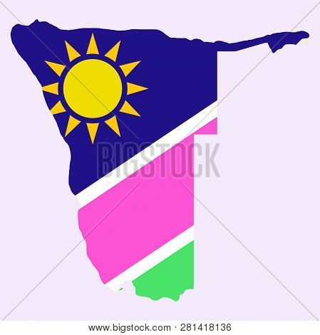 Flag Map Of Namibia Country, Geography, Graphic, Icon, Illustration, Nation, Travel, World,
