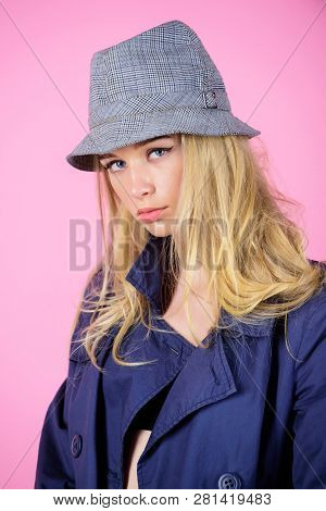 Modern Style. Girl With Make Up Wear Wide Brimmed Hat. Fashion Girl Concept. Fashion And Style. Blon