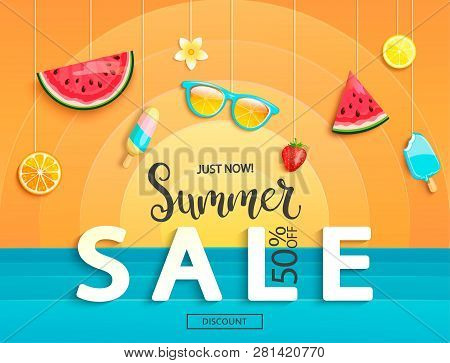 Summer Sale Banner With Fruits, Ice-cream, Watermelon, Orange, Glasses, Strawberries. Discount Templ