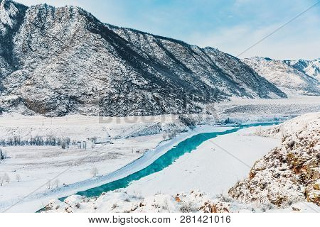 Winter Snow River In Mountains. Snow Winter Mountain River Valley Landscape. Winter Snow River In Wi