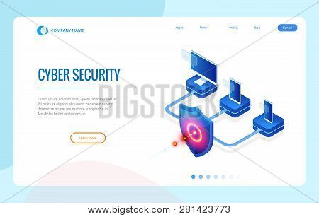 Isometric Protection Network Security And Safe Your Data Concept. Web Page Design Templates Cybersec