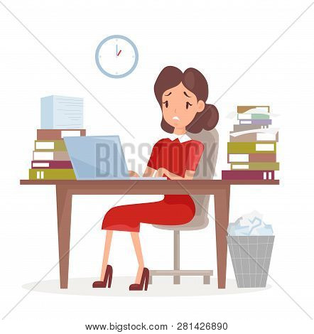Vector Illustration Of Tired And Sed Business Woman Or An Accountant In A Suit, Working On A Laptop