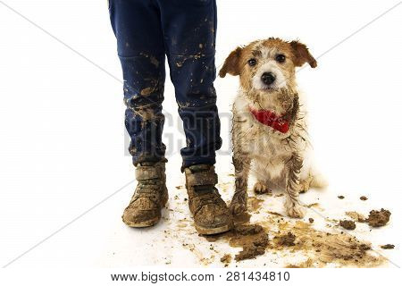 Funny Dirty Dog And Child. Jack Russell Dog And Boy Wearing Boots After Play In A Mud Puddle With As