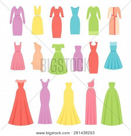Dress For Women. Vector. Evening, Cocktail And Business Dresses. Dress And Garment Set Isolated. Clo