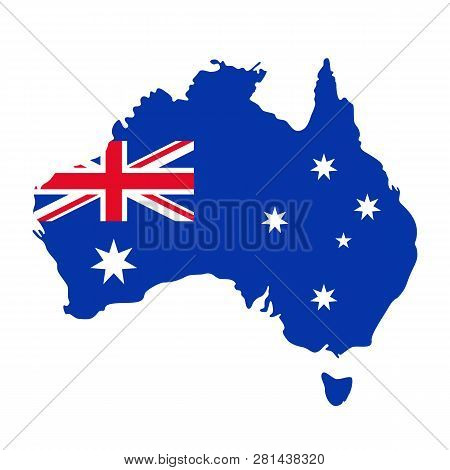 Australia Map Flag. Vector. Australian Continent. Silhouette Of Australia With National Flag With Un
