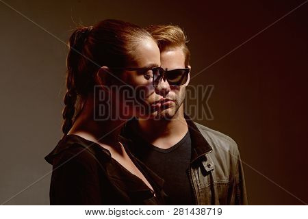 Young Loving Couple. Couple Of Man And Woman Wear Fashion Glasses. Love Relations. Friendship Day. F