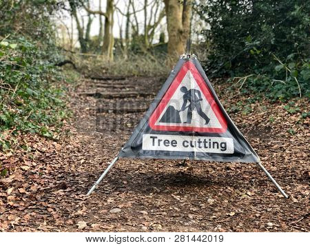 Caution tree cutting sign in managed woodland tree surgery
