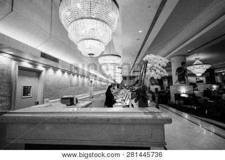 San Francisco, Ca, Oct 3, 2012 - Reception Desk In Hilton Union Square Hotel Where Part Of 50,000 Or