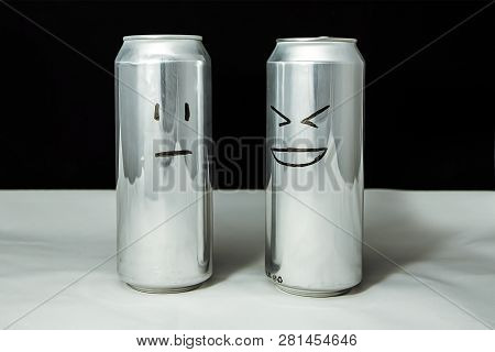 Concept Of Friends. Joke Over A Friend But It's Not Funny. Aluminium Cans With Drowing Emoticons, Em