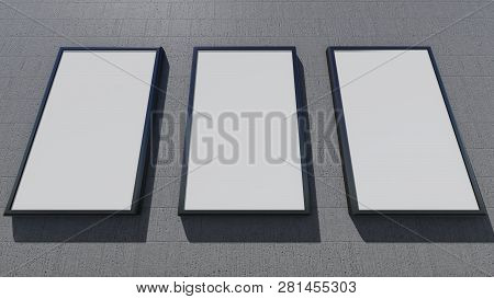 Three Blank Billboards On The Wall, 3d Rendering