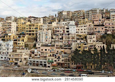 Lebanon, Tripoli; February 13th 2011 - Lebanese City Life. City Centre With Condominiums On A Hill,