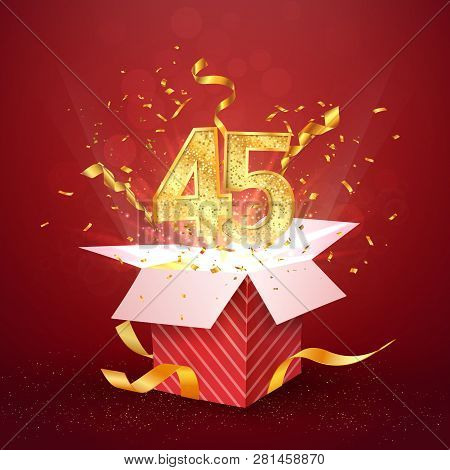 45 Th Years Number Anniversary And Open Gift Box With Explosions Confetti Isolated Design Element. T