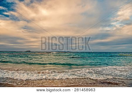 St. Maarten Island Beach. Caribbean Beach. Caribbean Sea. Blue Water Sea. Beautiful Caribbean Beach.