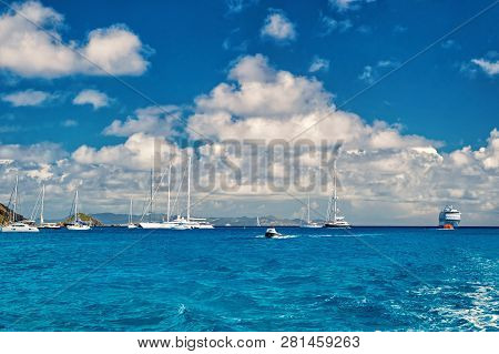 Sailboats, Ship And Boat Sail In Blue Sea On Cloudy Sky In Gustavia, St.barts. Sailing And Yachting
