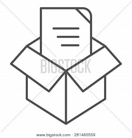 Unpacking Thin Line Icon. Box Unpack Concept Vector Illustration Isolated On White. File Unpacking O