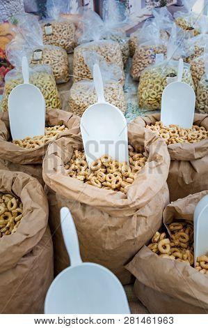 Taralli - Traditional Italian Snack Food Typical Of Apulia Regional Cuisine On The Market In Puglia