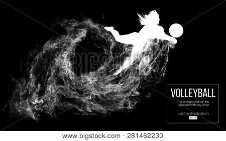 Abstract Silhouette Of A Volleyball Player Woman On Dark, Black Background From Particles. Volleybal