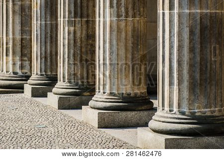 Columns In Row - Base Of Pillars , Courthouse Historic