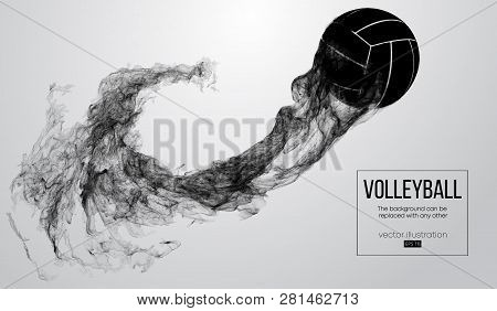 Abstract Silhouette Of A Volleyball Ball On White Background From Particles. Volleyball Ball Is Flyi