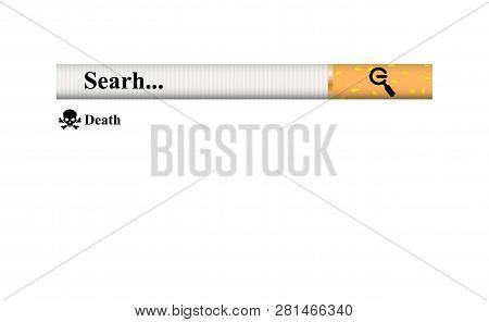 Simple Concept Struggle Of Nicotine Addiction. Search Bar Element Design, Search Boxes Ui Template.
