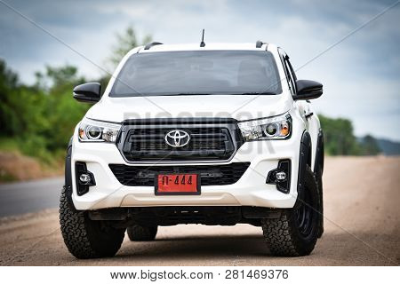 Bangkok Thailand - July 27 2018 : New Toyota Hilux Revo Rocco White Pickup  Truck Offroad Car Double