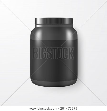 Vector Realistic 3d Black Plastic Jar, Can With Lid Closeup Isolated On White Background. Design Tem